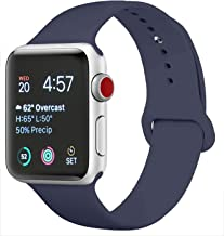 DOBSTFY Sport Bands Compatible for iWatch Band 38mm 40mm 42mm 44mm, Soft Silicone Replacement iWatch Bands Strap for iWatch Series 5 4 3 2 1 Nike+ Edition 2 1 Nike+ Edition, S/M M/L