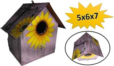 Sunflower Birdhouse - Wooden Birdhouses (Purple) Birdhouses For Outside - Birdhouses Decorative - Colorful Birdhouse - Chickadee Birdhouse - Finch Birdhouse - Wren Birdhouse - Painted Birdhouse