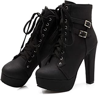 sadness n Womens Motorcycle Boots Winter Sexy Buckle Lace Up Platform Chunky High Heel Ankle Booties