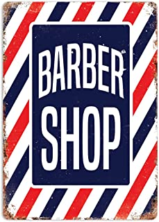 RABEAN Barber Shop Stripes Póster de Pared Aluminio Metal Creativo Placa Decorativa Cartel de Chapa Placas Decoración Hogar Estar Oficina Café Bar