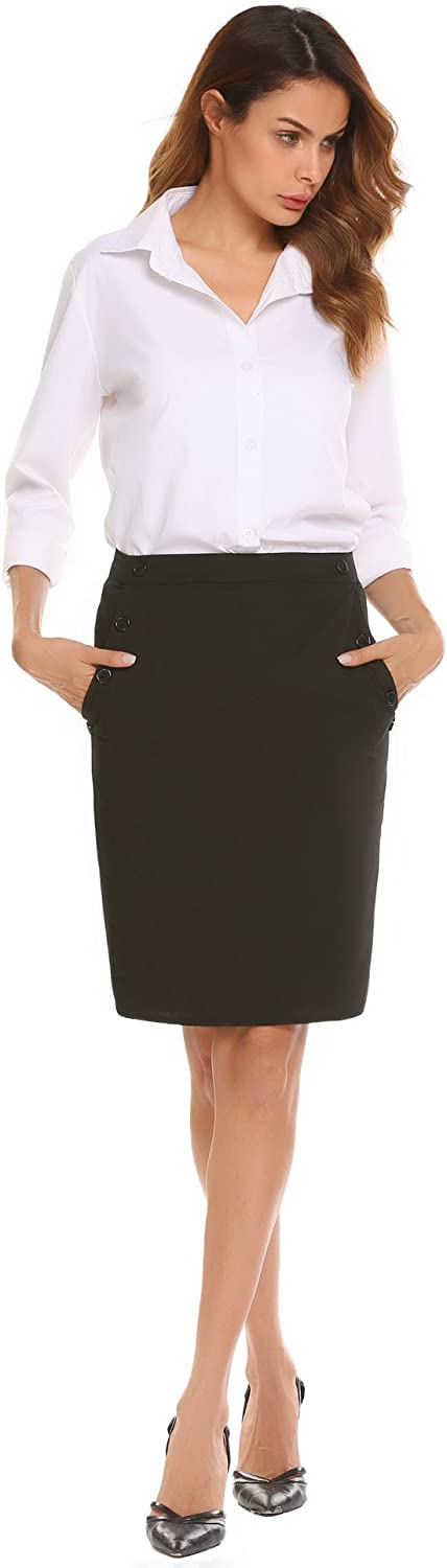 ANGVNS Women's High Waist Straight Pencil Skirt with Button Detail