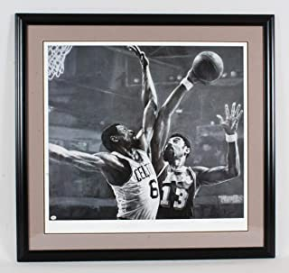 Wilt Chamberlain & Bill Russell Signed Litho - COA Online - Autographed NBA Art