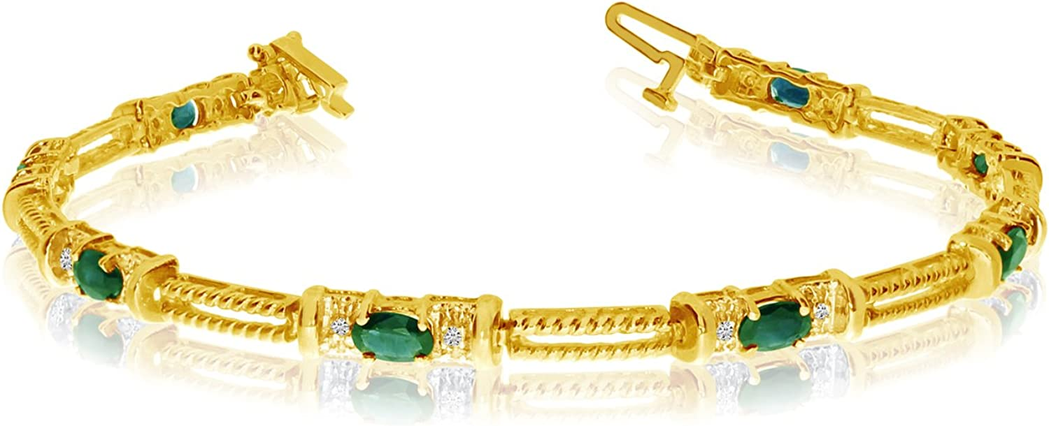 14k Yellow Gold Natural Max 81% OFF Opening large release sale Emerald Bracelet Diamond Tennis And
