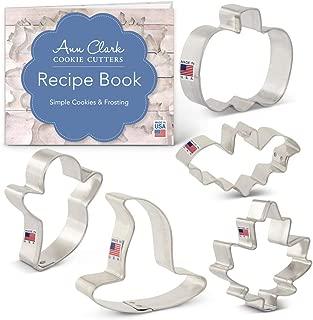 Ann Clark Cookie Cutters 5-Piece Mini Halloween Cookie Cutter Set with Recipe Booklet, Mini Pumpkin, Mini Bat, Mini Witch, Mini Ghost, Mini Maple Leaf