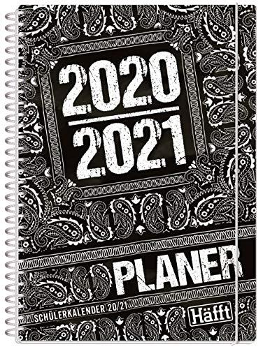 Häfft PLANER Premium A5 2020/2021 [Black & White] stabil & flexibel - Schülerkalender, Hausaufgabenheft, Schülerplaner mit spannendem Wissen, Stickern und lustigen Sprüchen