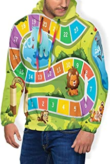 GULTMEE Men's Hoodies Sweatershirt, Picnic in Forest Colorful Pathway to The Blanket with Friendly Animals,5 Size