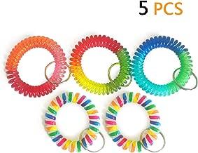 Wrist Coil Wrist Keychain Colorful Stretch Key Chain for Gym, Pool, ID Badge 5pcs