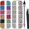 4488 Pieces Nail Art Rhinestones Crystal Flatback Rhinestones with Rhinestone Picker Dotting Pen and Pick Up Tweezers for Nails Art Clothes Shoes Bags Decoration