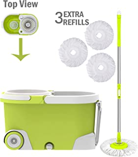 ALLZONE Spin Mop Bucket with Wringer On Wheels, Hardwood Floor Cleaning System, with 3