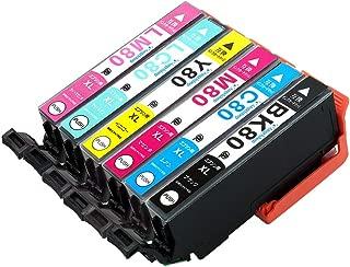 Angelshop EPSON(エプソン)IC6CL80L(IC80L)用 高品質互換インクカートリッジ 6色セット 残量表示機能付 [フラストレーションフリーパッケージ(FFP)]