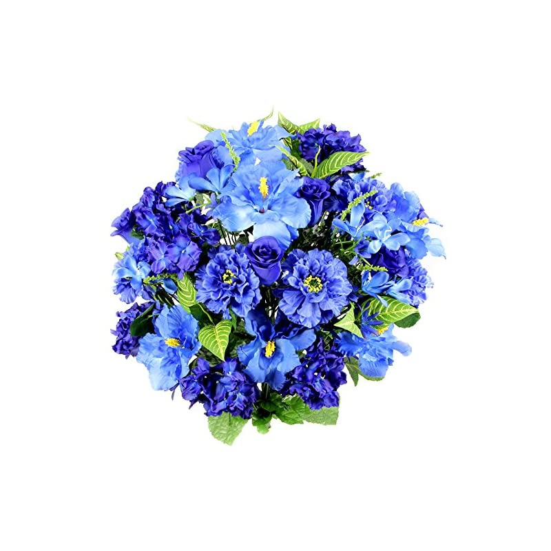 silk flower arrangements admired by nature artificial hibiscus with rosebud, freesias & fillers flower mixed bush for home, office, restaurant & wedding arrangement, blue, 36 stems