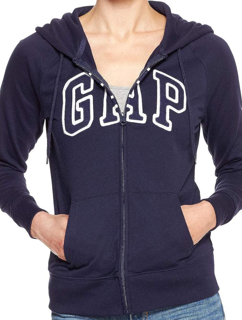 GAP Womens Arch Logo Zip Hoodie Full Zip, Navy Uniform