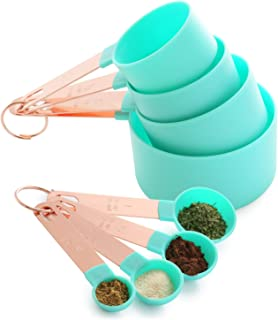 Set of 8 - Measuring Cups and Spoons Set, Copper Handle Measuring Cup, Vintage Kitchen Gift, Turquoise Blue Green