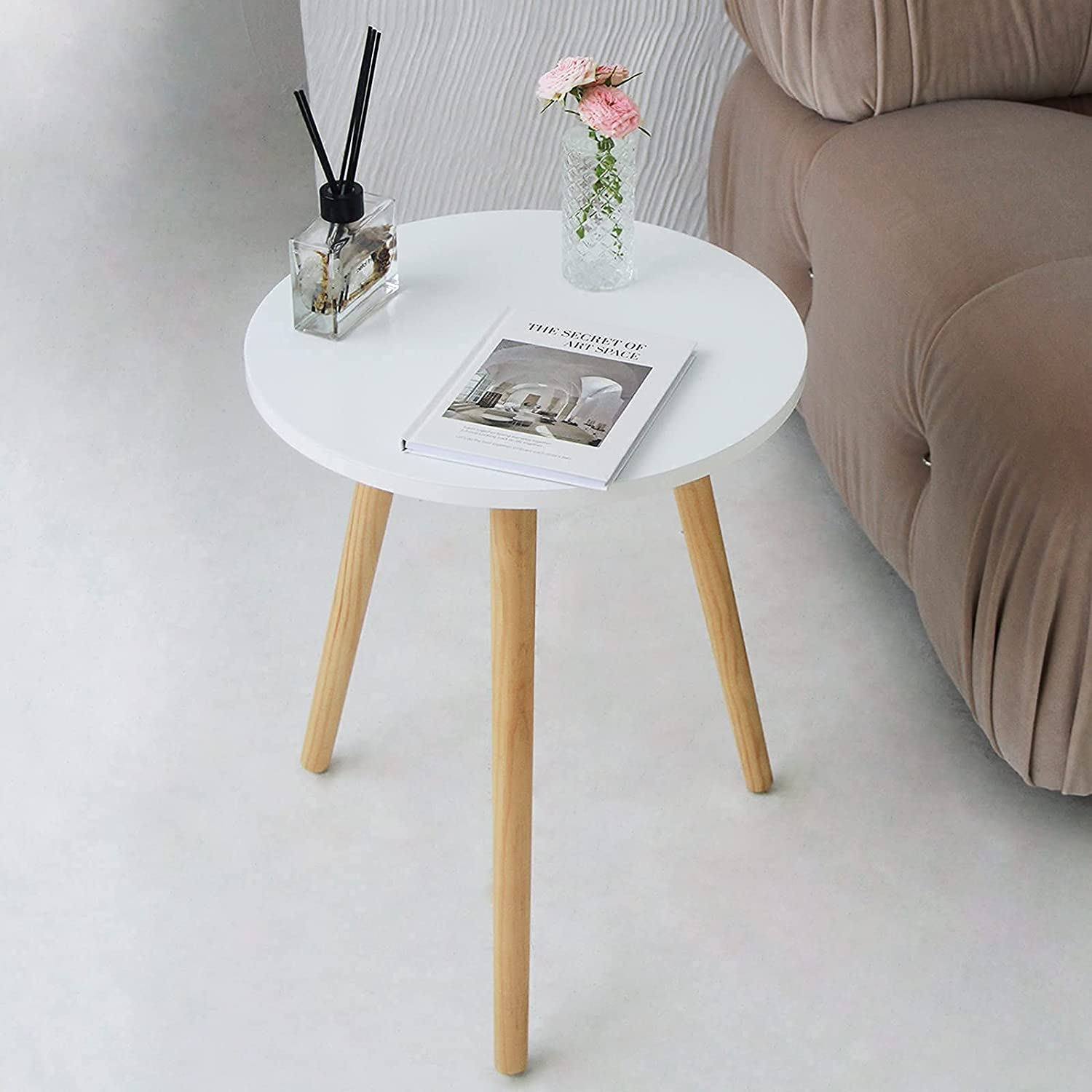 AWASEN Round Side Table, Small Accent Table Nightstand Modern End Table for Living Room Bedroom Office Small Spaces, 16''D x 19.5''H (White)