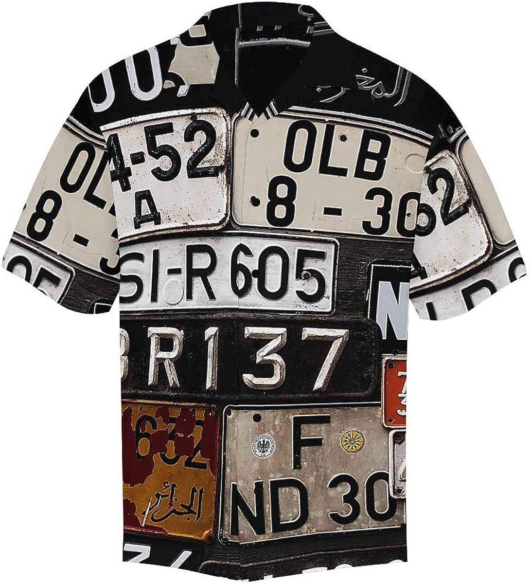 InterestPrint Men's Casual Button Down Short Sleeve Old Car License Hawaiian Shirt (S-5XL)