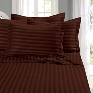 Elegant Comfort Best, Softest, Coziest 6-Piece Sheet Sets! - 1500 Thread Count Egyptian Quality Luxurious Wrinkle Resistant 6-Piece Damask Stripe Bed Sheet Set, King Chocolate Brown
