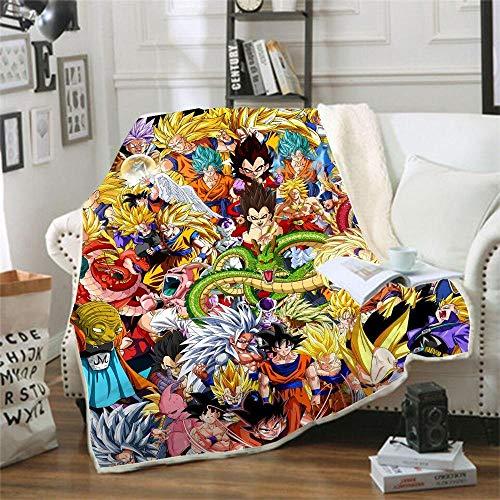 Ririhong Manta de Lana de Coral Doble Espesar Manta de impresión Digital 3D Manta de sofá Manta Dragon Ball Cartoon-130cm * 150cm (1pcs) _23