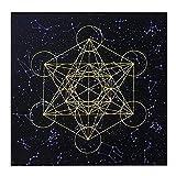 Jannyshop-123 Mantel de Tarot con Rejilla de Cristal Mantel de Tarot de Altar para Psicólogos Magos 23,6 × 23,6 Pulgadas(Negro)