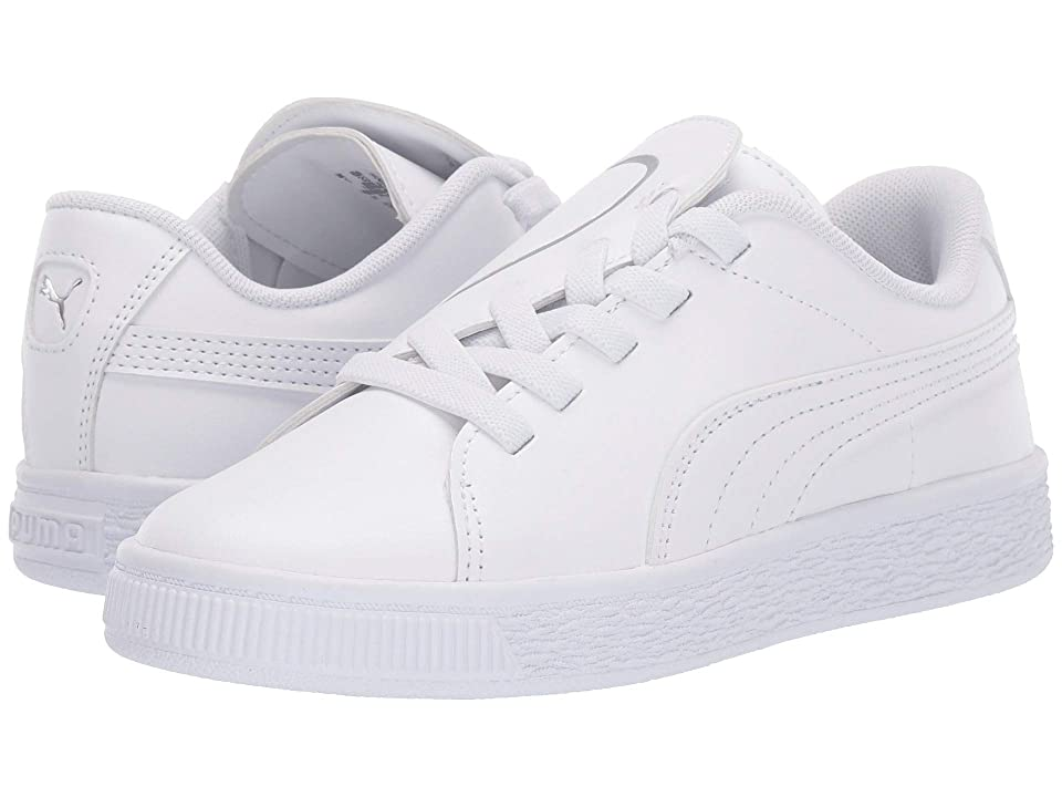 Puma Kids Basket Crush Slip-On (Little Kid) (Puma White/Puma Silver) Girls Shoes