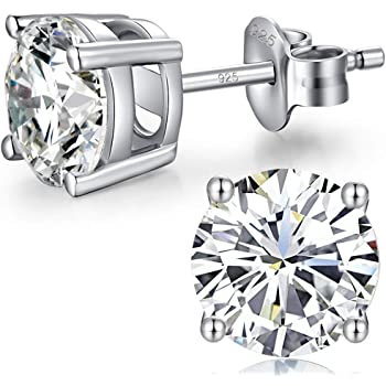 Solitaire Stud Post Earring Round Cubic Zirconia Rose Tone Plated 925 Sterling Silver