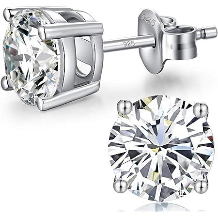 Jiahanzb 18K Chapado En Oro Blanco Simulado Diamante Brillante 5A Zirconia Cúbica Ronda Aretes Plata De Ley 925 4mm a 8mm Fina Joyería Para Mujeres Hombres