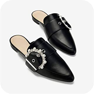 100dbeca5 The Hot Rock-Sandals Women Mules Black PU Leather Slippers with Pearl  Buckles Flats Mules