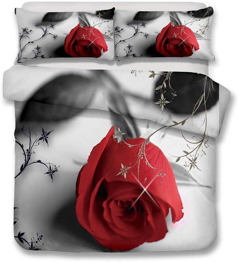 LanS Realistic 3D Succulent ☆新作入荷☆新品 Rose 卓越 Flower Bedding Cover Duvet Set