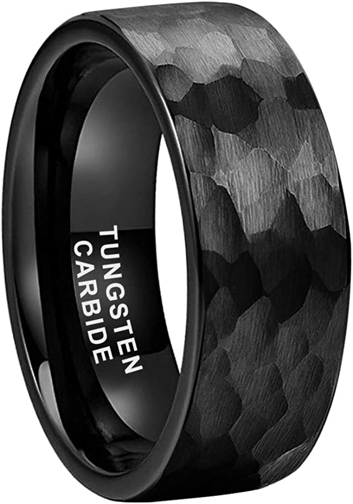 iTungsten 8mm Silver/Black/18K Gold Hammered Tungsten Rings for Men Women Wedding Bands Matte Finish Pipe Cut Comfort Fit