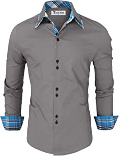 Mens Trendy Slim Fit Inner Checkered Button Down Shirt