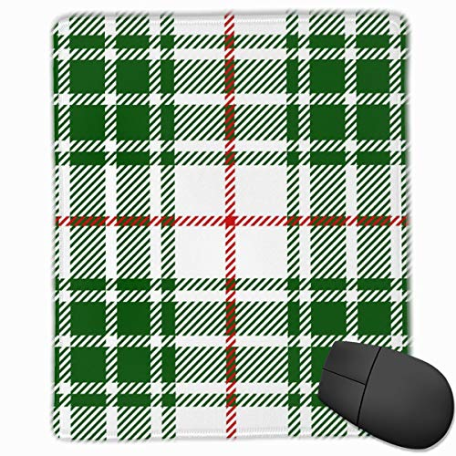 YGVDSE Rubber Mousepad Green Red Tartan Plaid Scottish Pattern 18 X 22 cm Mouse Mat, Medium Size Gaming Mouse Pad with Water Resistant Surface, Non Slip Rubber Base