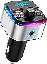 Bovon Transmetteur FM Bluetooth, [6 Couleurs Rétro-Éclairage LED] Kit Main Libre Voiture sans Fil Adaptateur Radio avec QC3.0 USB Chargeur Voiture, Émetteur FM Bluetooth Support Carte TF/Clé USB