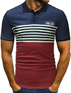 LUKEEXIN Summer Men's POLO Shirt Fashion Stripe Print Short Sleeve Polo Shirt