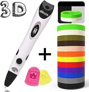 dikale 3D Pen with PLA Filament Refills 07A【Newest Version】 3D Drawing Printing Printer Pen Bonus 12 Colors 120 Feet PLA 250 Stencil eBook for Kids Adults Arts Crafts Model DIY, Non-Clogging …