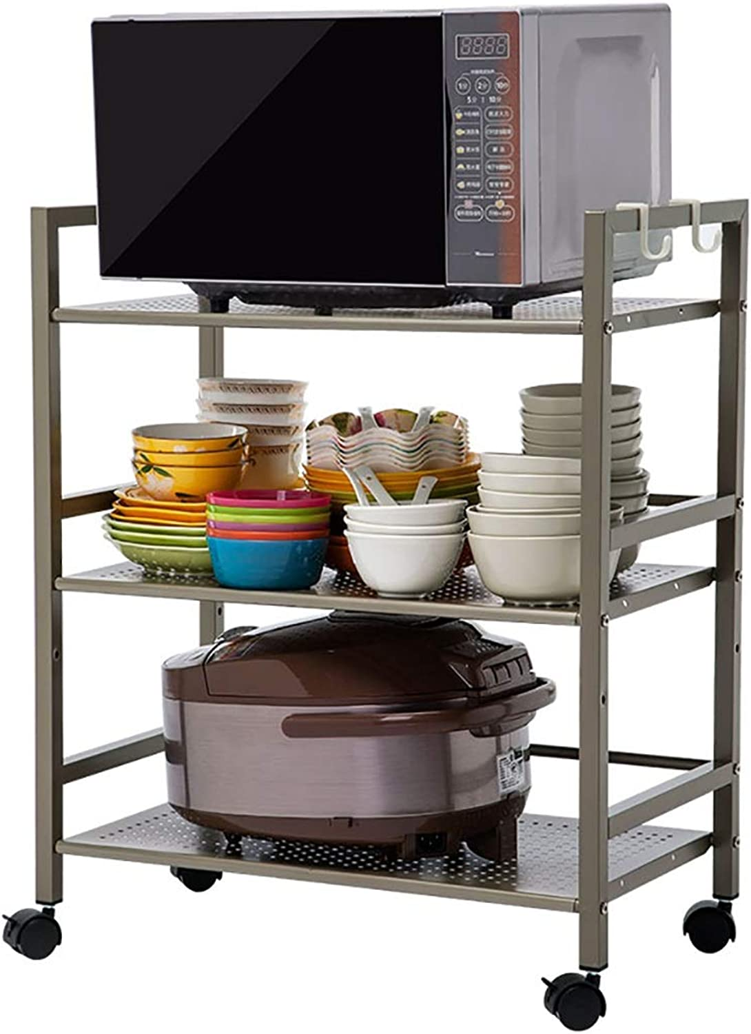 Shelf Small cart Landing Multi-Layer Pulley it can Move Kitchen Shelf Microwave Oven Rack Oven Rack