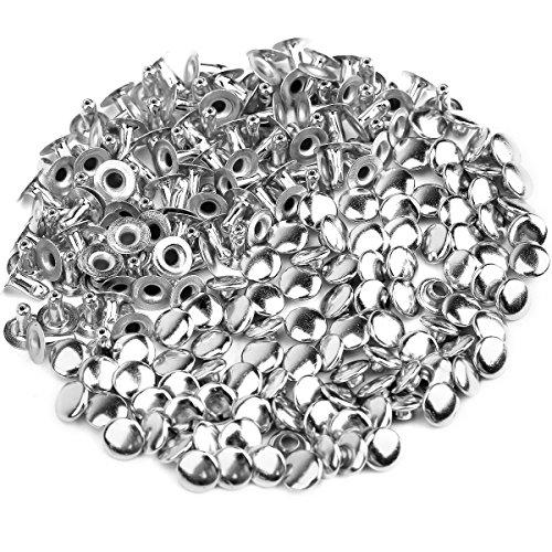 ULTNICE 100 Stück 6mm Rundnieten Metall Nieten für DIY Leder Schuhe Tasche Armband