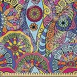 ABAKUHAUS Blumen Stoff als Meterware, Hippie Aztec Tribal