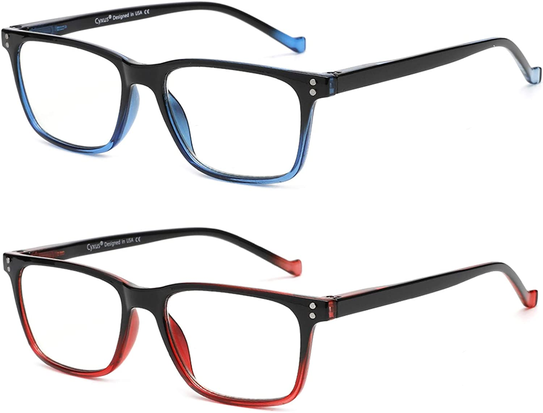 2 Pack Cyxus Reading Glasses Light C Blocking + 2021 Albuquerque Mall autumn and winter new Blue