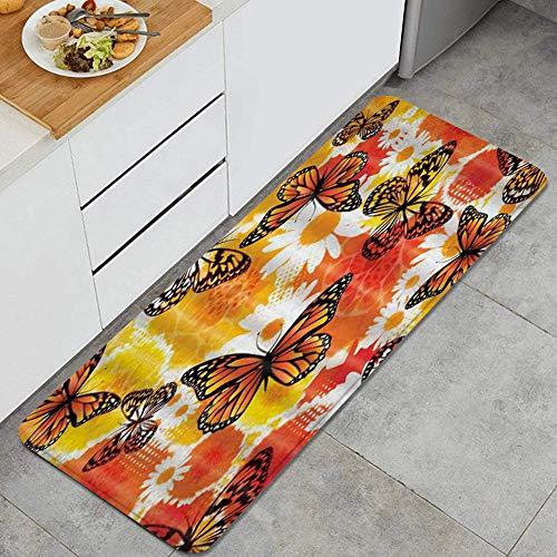 VINISATH Tappeti Cucina Antiscivolo Tappeti per Cucina Lavabile Tappetino Bagno Zerbino Tappeto Cucina Passatoia,Farfalla Fantasia Decorazione Rosso-Giallo Crisantemo Tema Arancione Farfalla