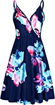 VOTEPRETTY Women's V-Neck Floral Spaghetti Strap Summer Casual Swing Dress with Pockets