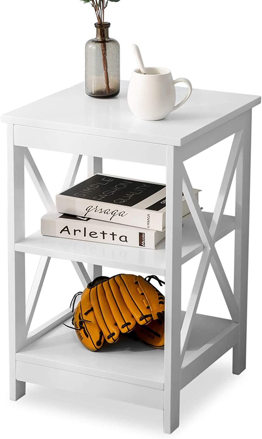 Leisure Zone End Table Side Table Sofa Side Table Storage Shelves with 3 Tiers Bedside table For Living Room Bedroom Kitchen Any Room (White)