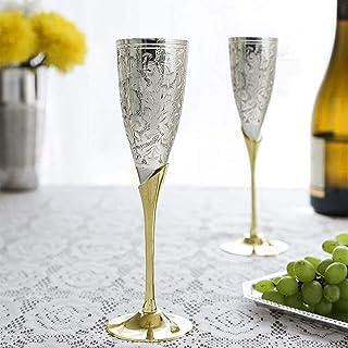 Hashcart Brass Wine Glass Set of 2 [Gift Set]   Goblet Champagne Flutes Glass For Home Decor   Living room   Bar Cart