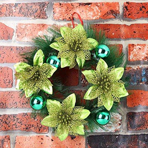 Couronne de noel Couronne de Porte Noel Fruit Poinsettia et Pommes De Pin Noel Pendantif Decoration Accueillant 30cm (d)