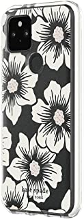 Kate Spade New York Defensive Hardshell Case for Google Pixel 5 - Hollyhock Floral Clear/Cream with Stones