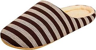 Tyoby Chaussons Maison Hiver Femme Homme Pantoufles de Coton Chaud Intérieure Chaussures Souple Confort Chaussures Rayées ...
