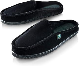 Roxoni Mens Comfort Memory Foam Slippers-A Classic Corduroy House Shoe-Anti Skid Rubber