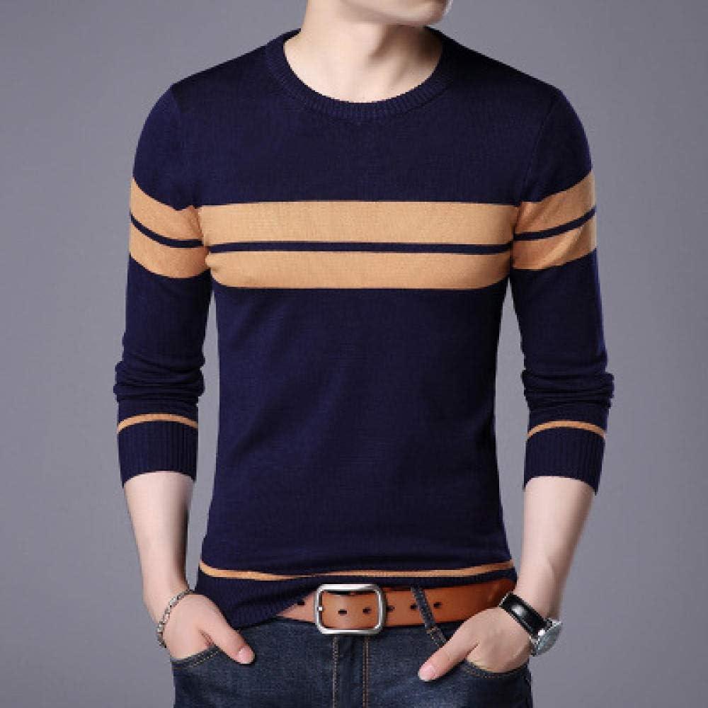 BBWY Pullover Men Sweater ,Autumn Winter Clothing Wool Slim Fit Sweater Men Casual Striped Men Pull Jumper-Navy Blue_XXL
