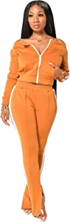 Womens Tracksuit, Casual Solid Color 2 Piece Outfits Set, Zipper Jacket Bodycon Pants Clubwear Tracksuit Sportswear Sweats...
