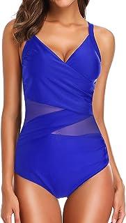 7aa4103513 EUDOLAH Femme Maillot de Bain 1 pièce Amincissante Slim Grande Taille  Bikini Transparent