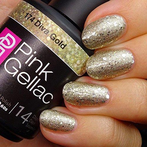 Pink Gellac 174 Diva Gold UV Nagellack. Professionelle Gel Nagellack shellac für mindestens 14 Tage perfekt glänzende Nägel