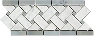 Carrara White Italian (Bianco Carrara) Marble Basketweave Border Mosaic Tile with Blue & Gray Marble Dots, Polished